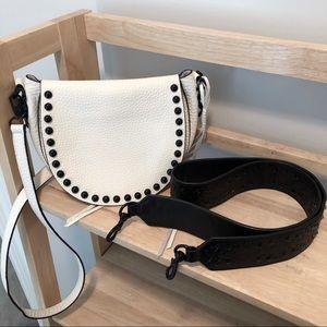 Rebecca Minkoff White Studded Saddle Bag Purse